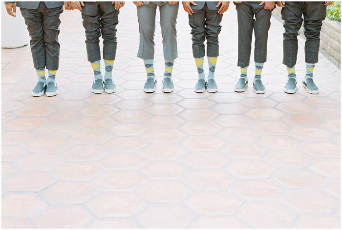 martin johnson house wedding | la jolla, ca | Marvin Tsai Photography | Tres Chic Affairs | Yellow and Grey | DIY | suits| socks