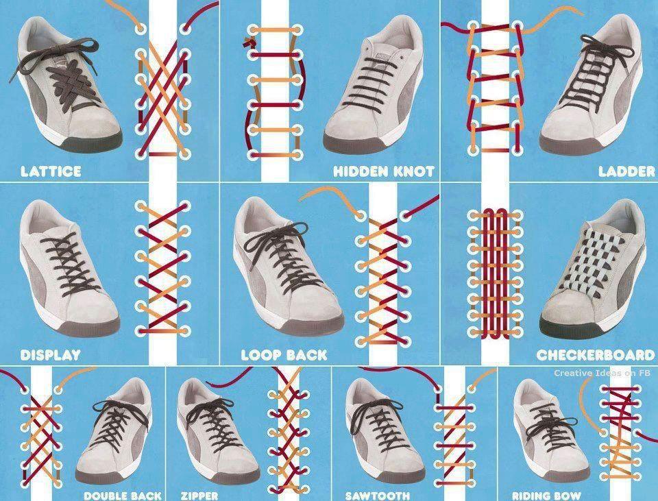 lace shoes, Ways to tie shoelaces