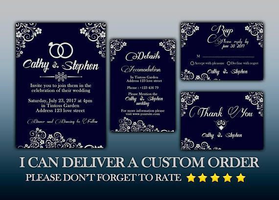 Wedding Invitation Flyer Template Rsvp Details Thank You