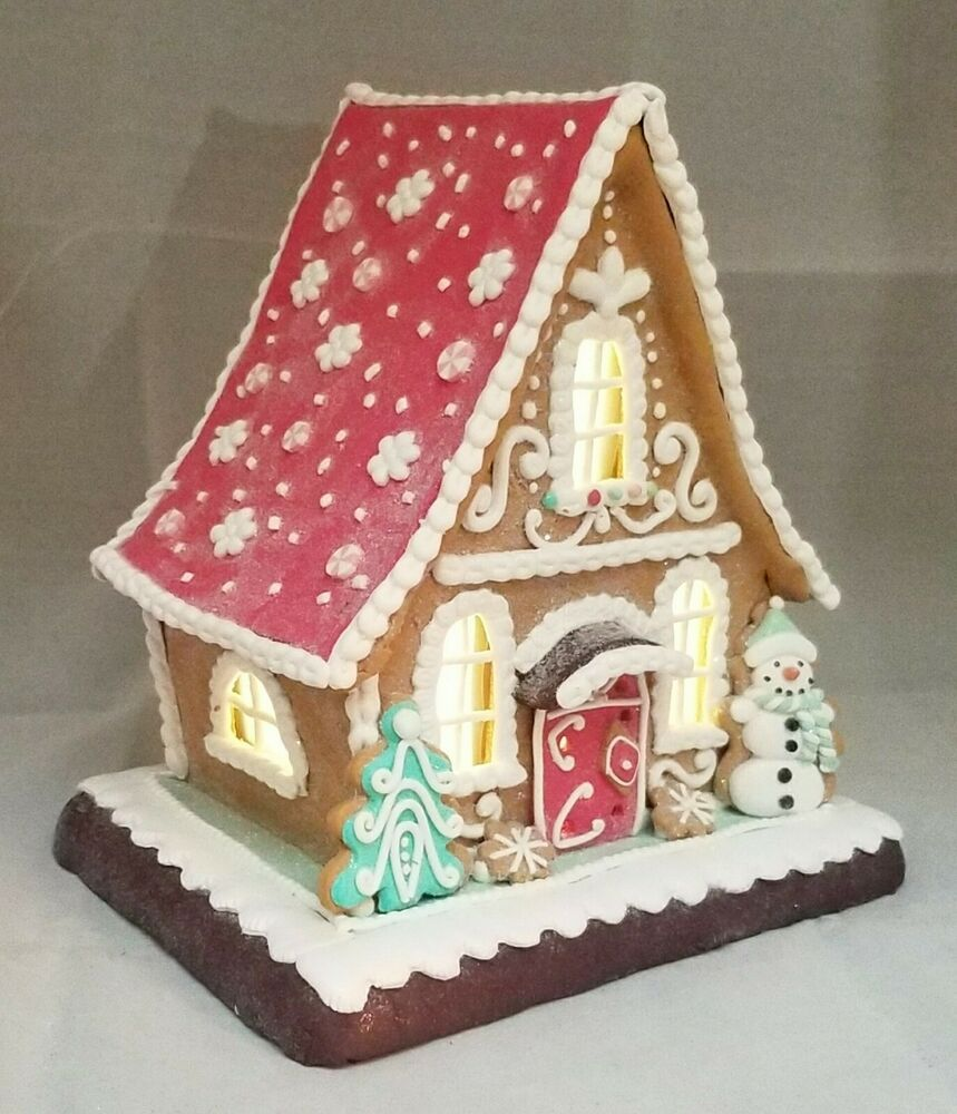 Gingerbread House Large Christmas Led Light Up Snowman Clay Dough 10 Kurt Adler Kurtadl Gingerbread House Christmas Gingerbread House Holiday Decor Christmas