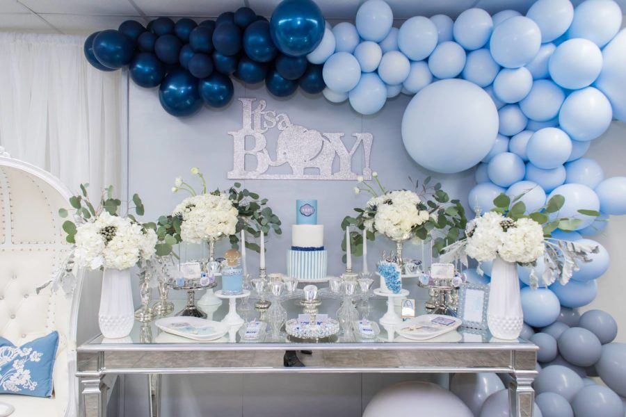 Blue And Silver Elephant Baby Shower Dessert Table Baby Shower Balloons Baby Shower Decorations Baby Shower Backdrop