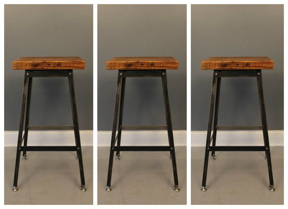 Set Of 3 Bar Stools Urban Reclaimed Wood Stool Free Shipping