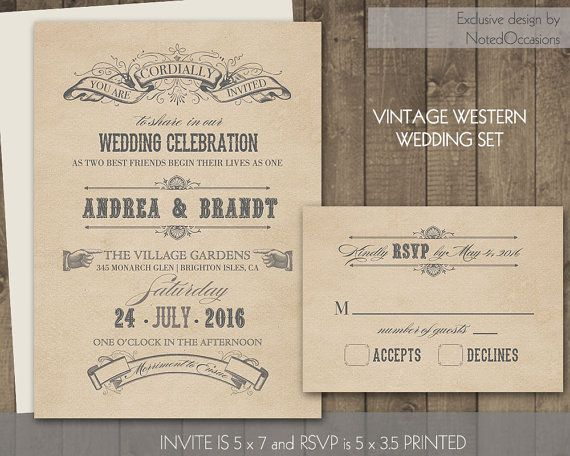 Vintage Western Wedding Invitation Set Vintage Rustic Banners Country  Western Parchment Paper | Wanted Poster Typography