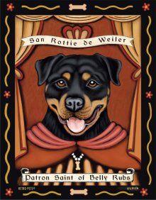 San Rottie de Weiler | Patron Saint of Belly Rubs | Animal Art with an Attitude