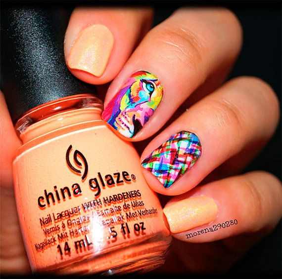 Lion Nail Art - Lion Nail Decals. These are so cool! #lion #nailart ...