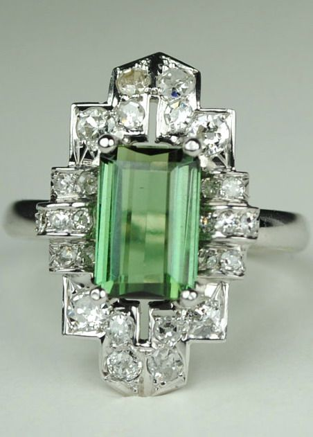 Long Green Tourmaline Art Deco Diamond Ring Vintage Item From The