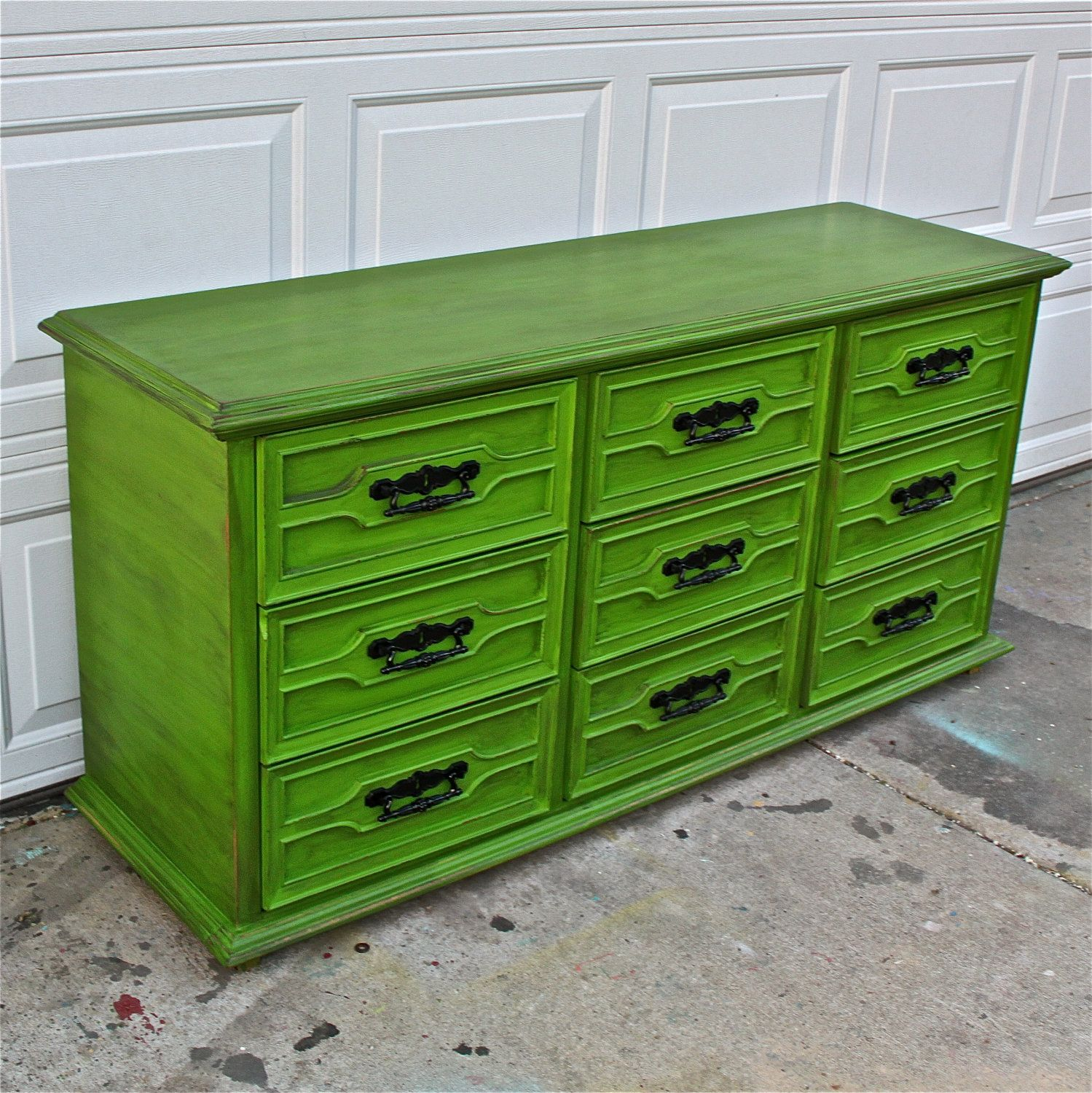 Green Vintage Dresser Bright Buffet Bedroom Furniture Distressed Black Drawer Pulls TV Stand Storage Dining Room