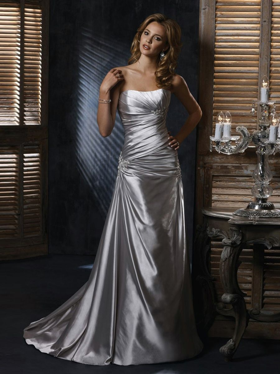 classic sheath silver satin ruche bust line strapless