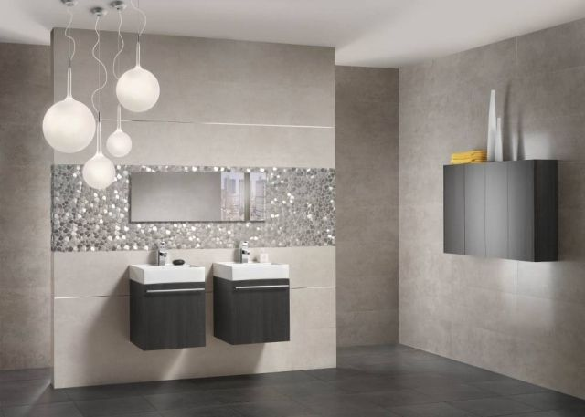 Carrelage de salle de bains 57 id es pour les murs et le for Carrelage salle de bain tendance 2016