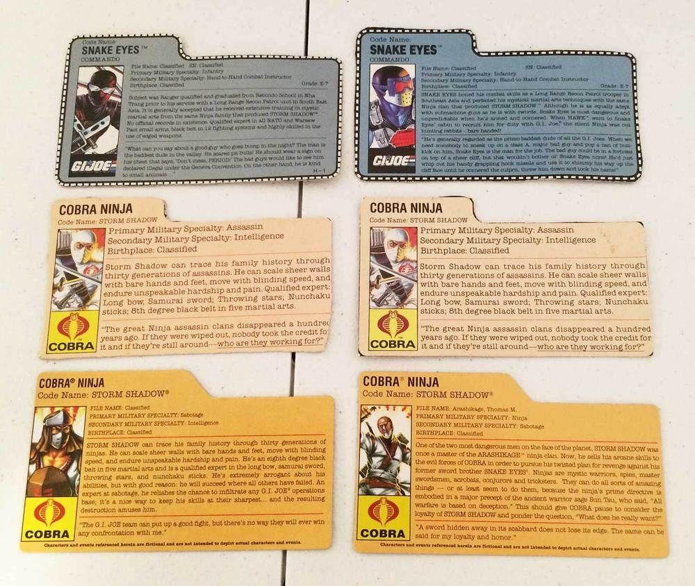 1980's-1990's SNAKE EYES & STORM SHADOW CARD LOT • G I  JOE