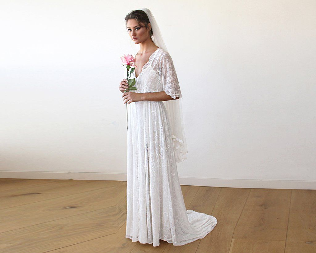 Floral Lace Ivory Sheer Maxi Dress With Train 1165 – Blushfashion ...
