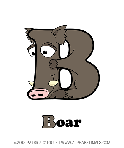 Boar - Alphabetimals make learning the ABC's easier and more fun! http://www.alphabetimals.com