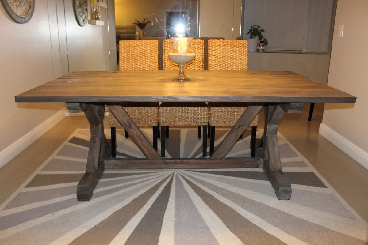 Weathered Gray Fancy X Farmhouse Table With Extensions