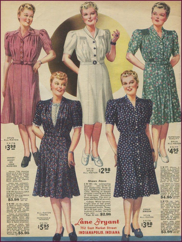 NewVintageLady: Catalog Sunday Lane Bryant 1942 Plus Size Dresses ...