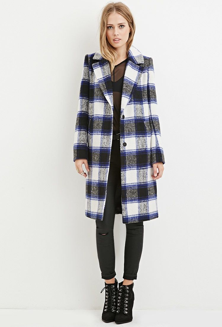 Longline Plaid Coat