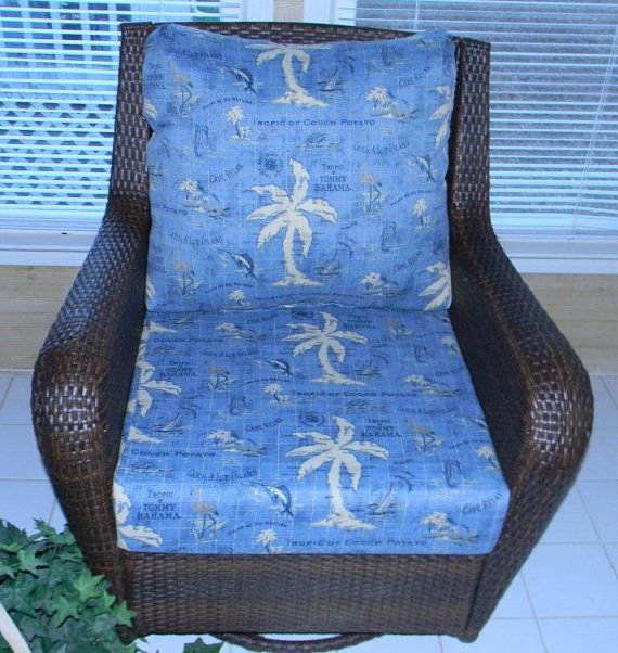 Beau Indoor / Outdoor Tommy Bahama Blue Nautical Cushion For Deep Seat Furniture  Chair, Choose Size