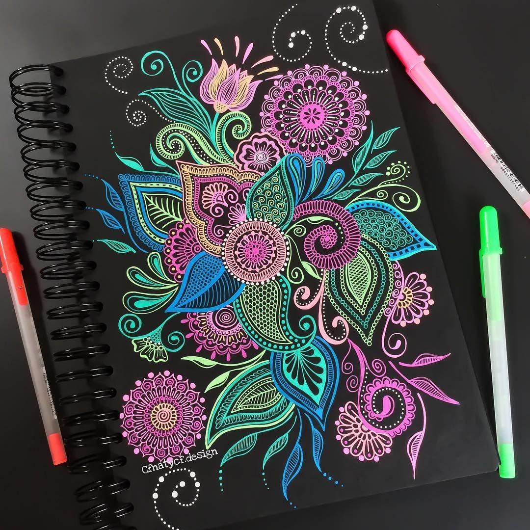 Картинки гелевыми ручками на бумаге для начинающих