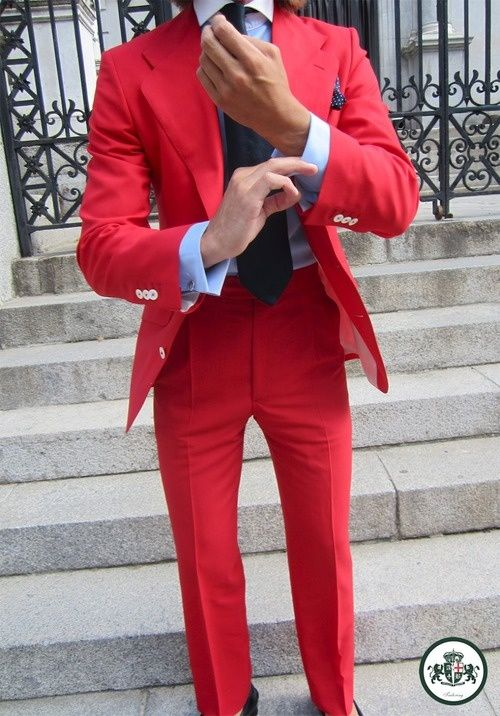 Men's Red Blazer, Light Blue Dress Shirt, Red Dress Pants, Black ...