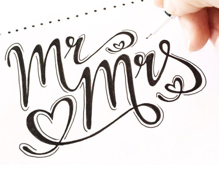 handlettering lettering handdrawn type typography mr mrs love opdrachten pinterest schrift. Black Bedroom Furniture Sets. Home Design Ideas