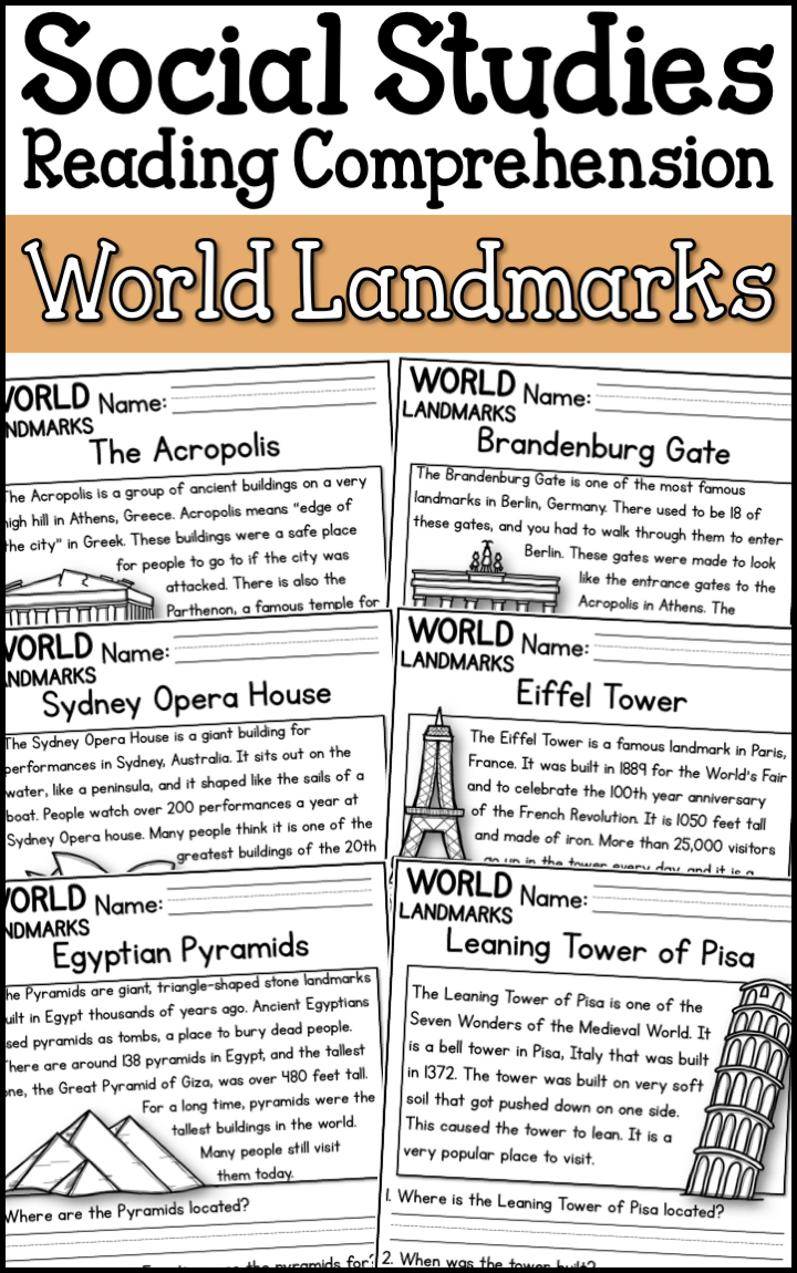 Famous World Landmarks Reading Comprehension Passages K 2 A Page Out Of History Social Studies Worksheets Reading Comprehension Passages Social Studies Elementary [ 1150 x 720 Pixel ]