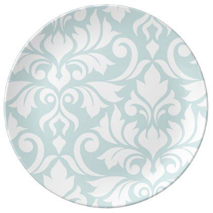 Flourish Damask Art I White on Duck Egg Blue Dinner Plate - white gifts elegant diy  sc 1 st  Pinterest & Flourish Damask Art I White on Duck Egg Blue Dinner Plate - white ...