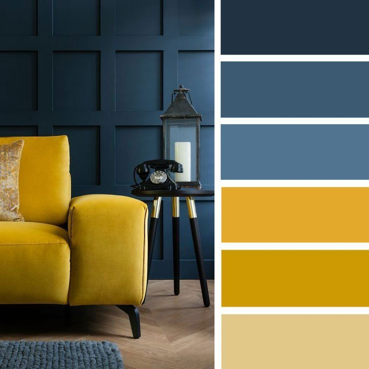 14 Ways To Bright Your Home Up With Yellow Mustard Color Navy Blue And Mustard Color Palette Purple Living Room Teal Living Rooms Living Room Color Schemes