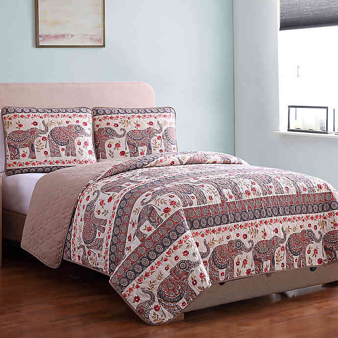 MHF Home Elephant Print Reversible Quilt Set in 2020