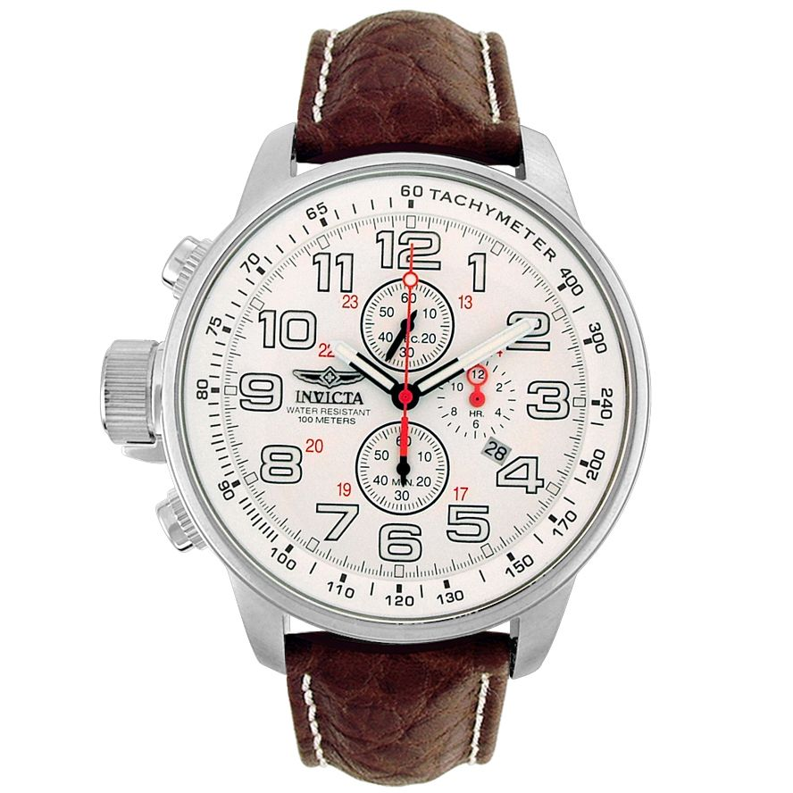 Price:$179.99 #watches Invicta 2771, With a detailed facade displaying multi-functional subdials, this Invicta chronograph is style built with precision. Case: Polished/Brushed stainless steelDial Color: WhiteDial markings: Luminous arabic numerals hour markersStrap: Brown leather strap with white contrast stitchingClasp Type: BuckleSubdials: 60 second, 60 minute, 12 hour subdials