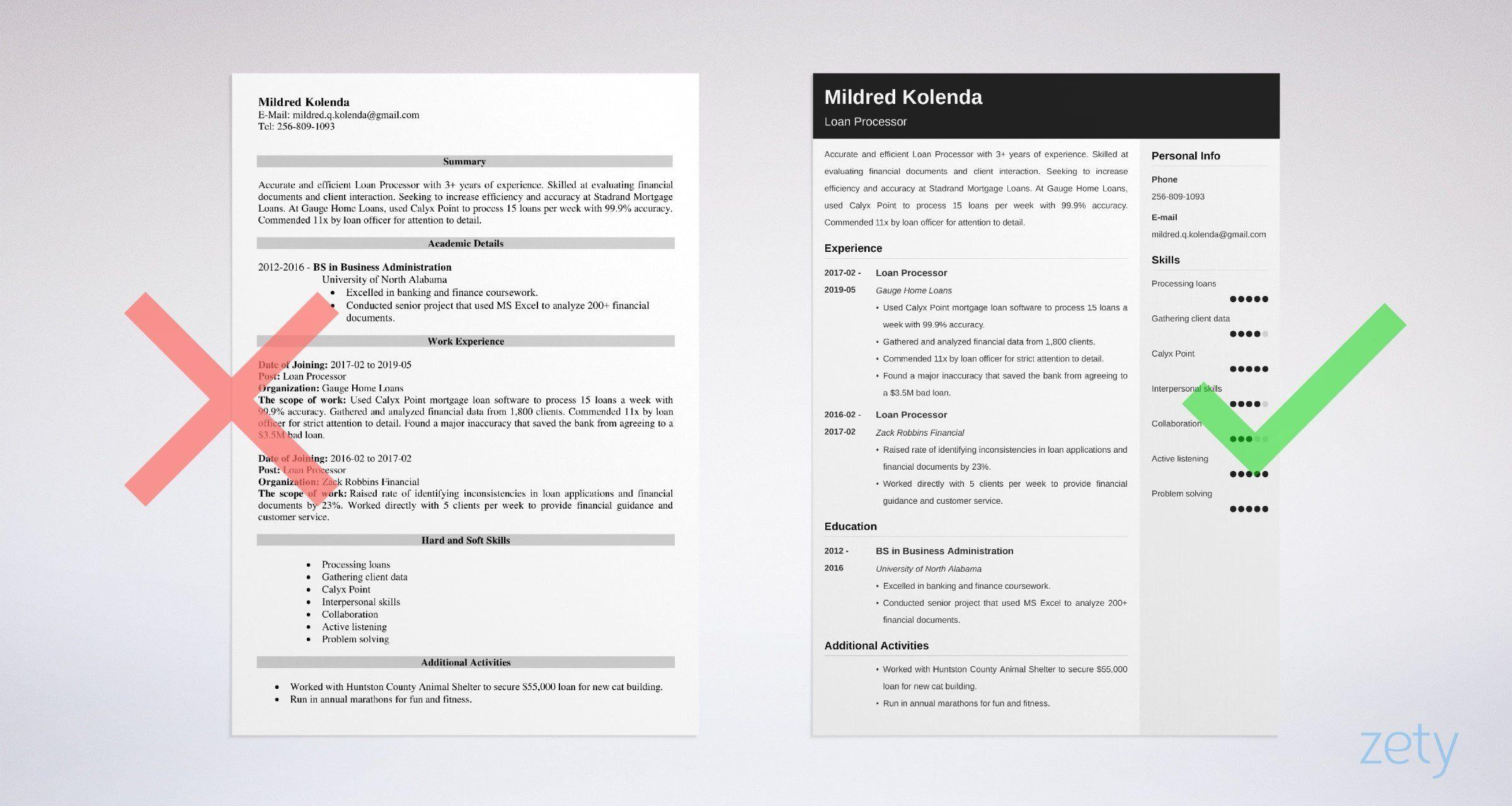 Loan Processor Resume Sample [+Job Description] Job