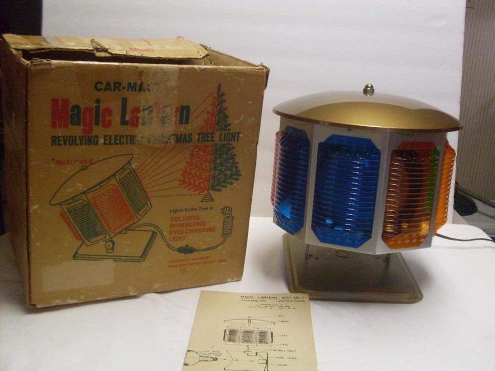 Vintage Christmas Tree Color Wheel Car Mac Magic Lantern Revolving