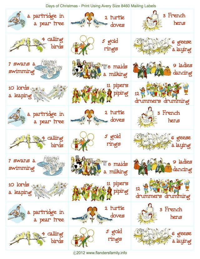 12 Days Of Christmas Sing A Long Free Printable The Flanders Family Web Days Of Christmas Song Funny Christmas Party Games Christmas Party Games For Adults