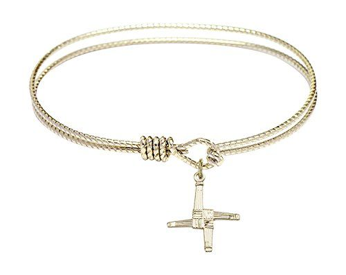 7 14 inch Oval Eye Hook Bangle Bracelet w St Brigid Cross medal charm * Read more reviews of the product by visiting the link on the image.