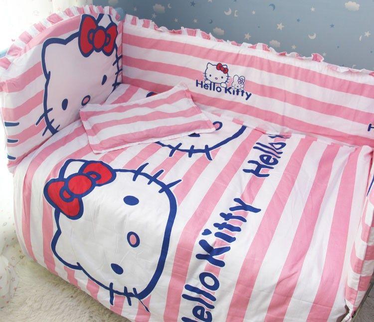 Promotion! 6pcs Hello Kitty baby and kids crib bedding set , kit ...