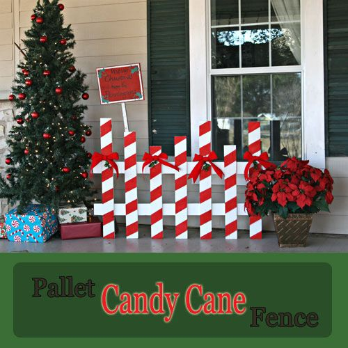 Make A Candy Cane Fence Out Of A Pallet The Pennington Point Outdoor Christmas Decorations Pallet Christmas Christmas Decorations