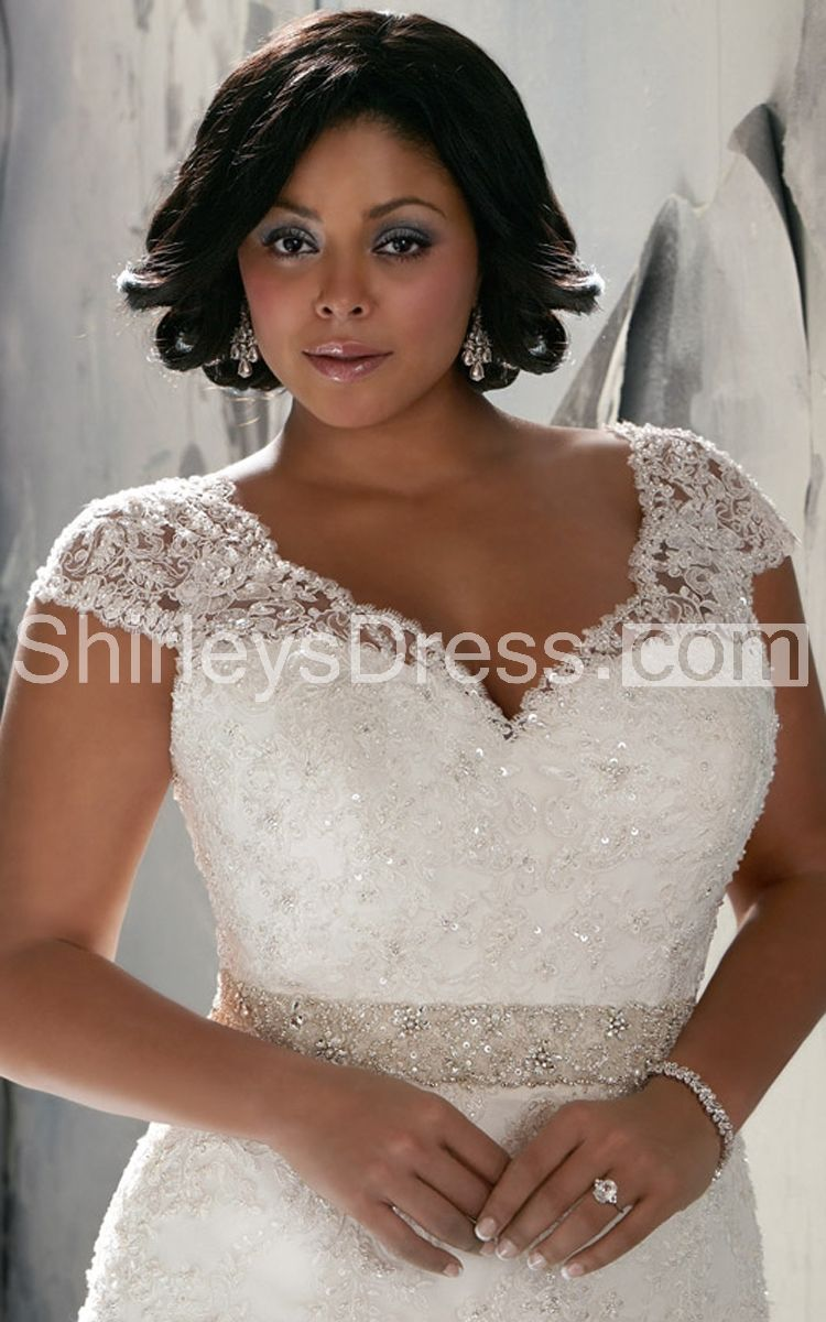 Shortsleeved vneck lace train wedding gown with belt all ideas