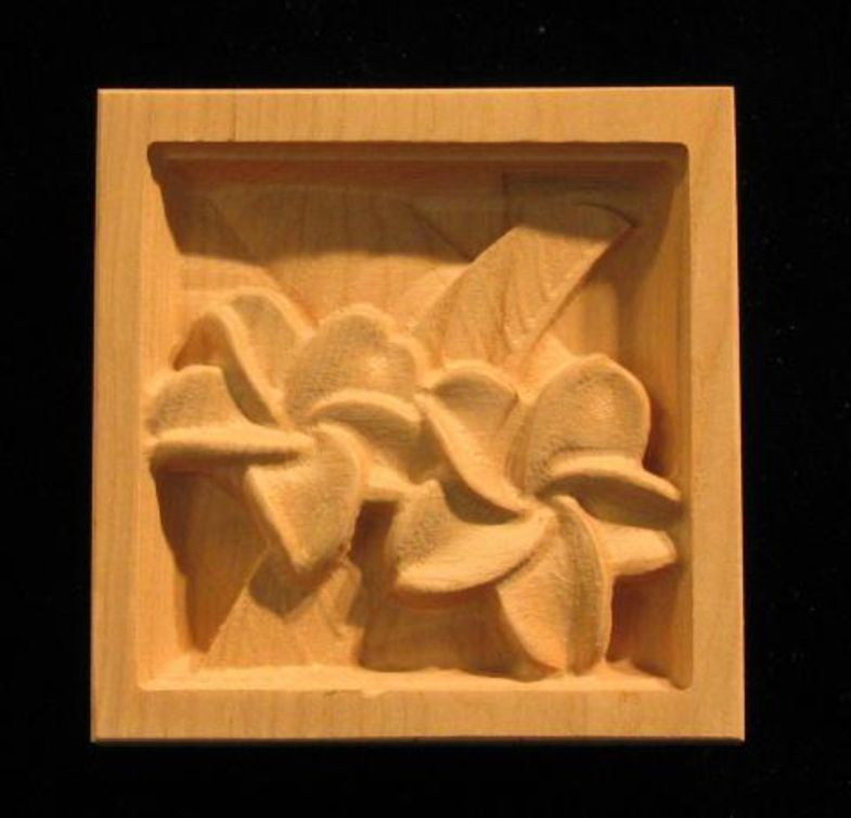Decorative Wood Corner Block Carved Plumeria Home Decor
