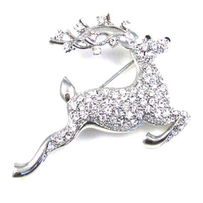 Festive Deer Brooch