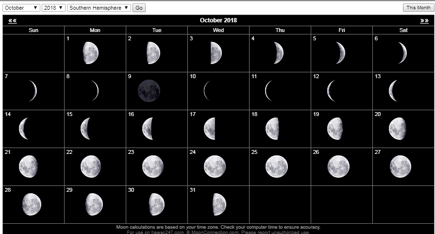 printable moon calendar october 2018
