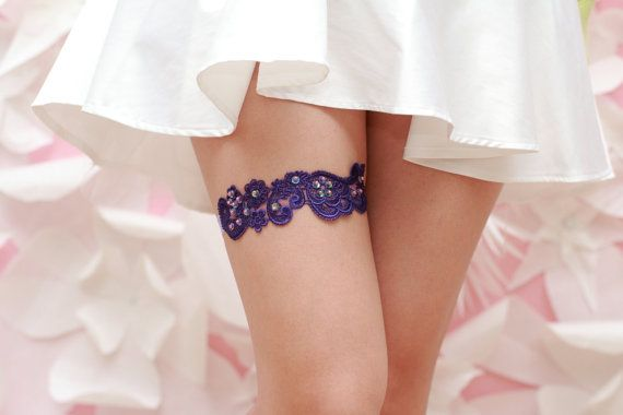Wedding Garter Purple Venise Lace with by TheLittleWhiteDress, $24.95