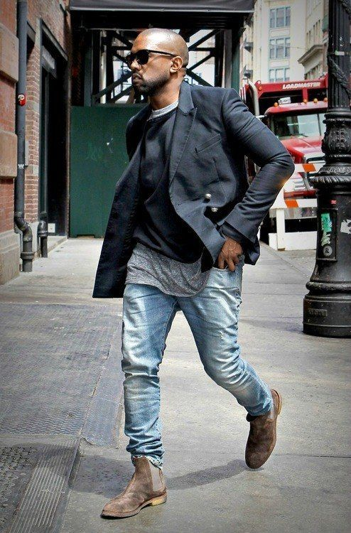 94a77c0e0 ... West Forum. The high-low layers for men. Kanye working it. Pair a black  pea coat with light blue jeans to create a smart casual look.