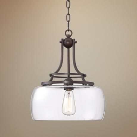 Charleston 13 1 2 Quot Wide Clear Glass And Bronze Pendant Light 4f066 Lamps Plus Bronze