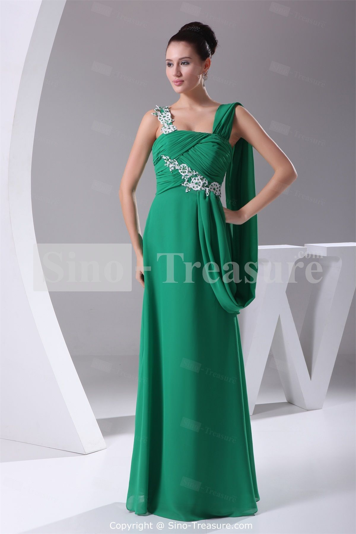 Dark Green Floor-Length Chiffon/Silk-Like Satin Strapless Prom ...