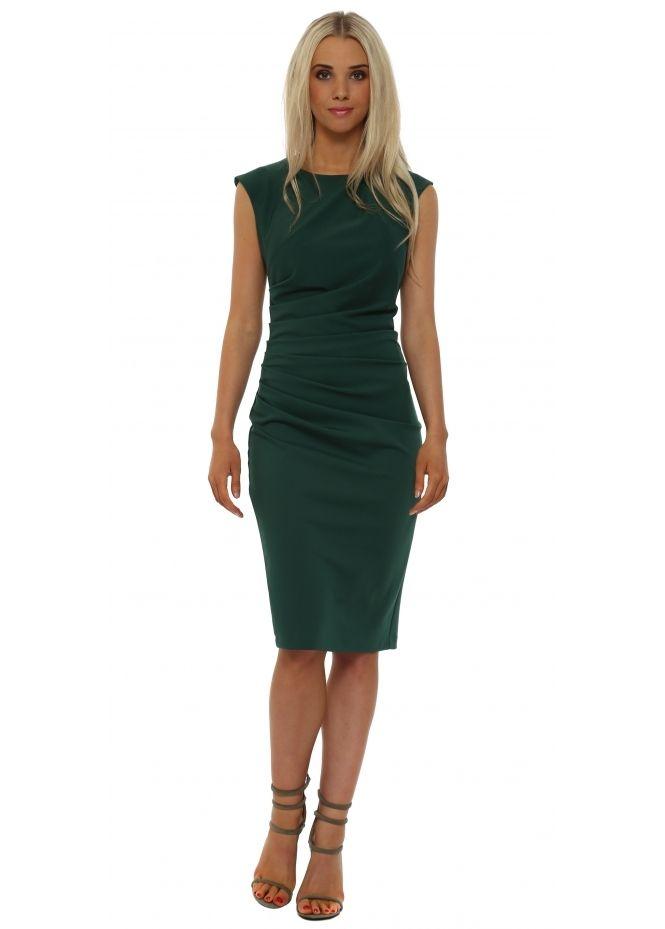 443531cd327 RINASCIMENTO Green Ruched Sleeveless Pencil Dress