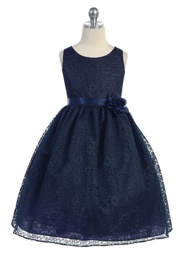 8ad5e61b8d98 Navy Elegant Lace Girl Dress