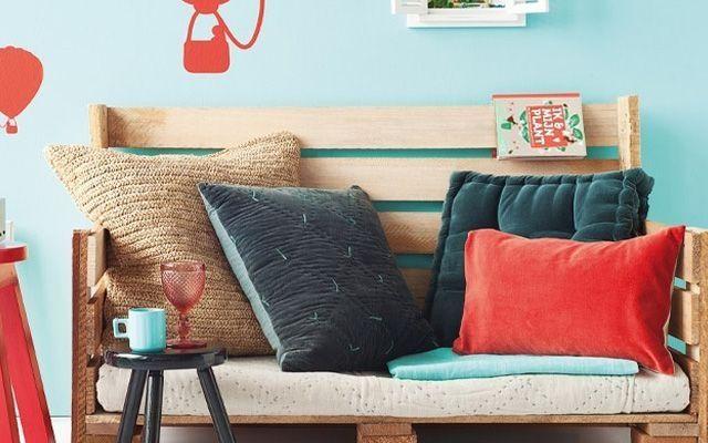 Holz Le Design palettenmöbel sofa holz europaletten bauen kissen sitzkomfort