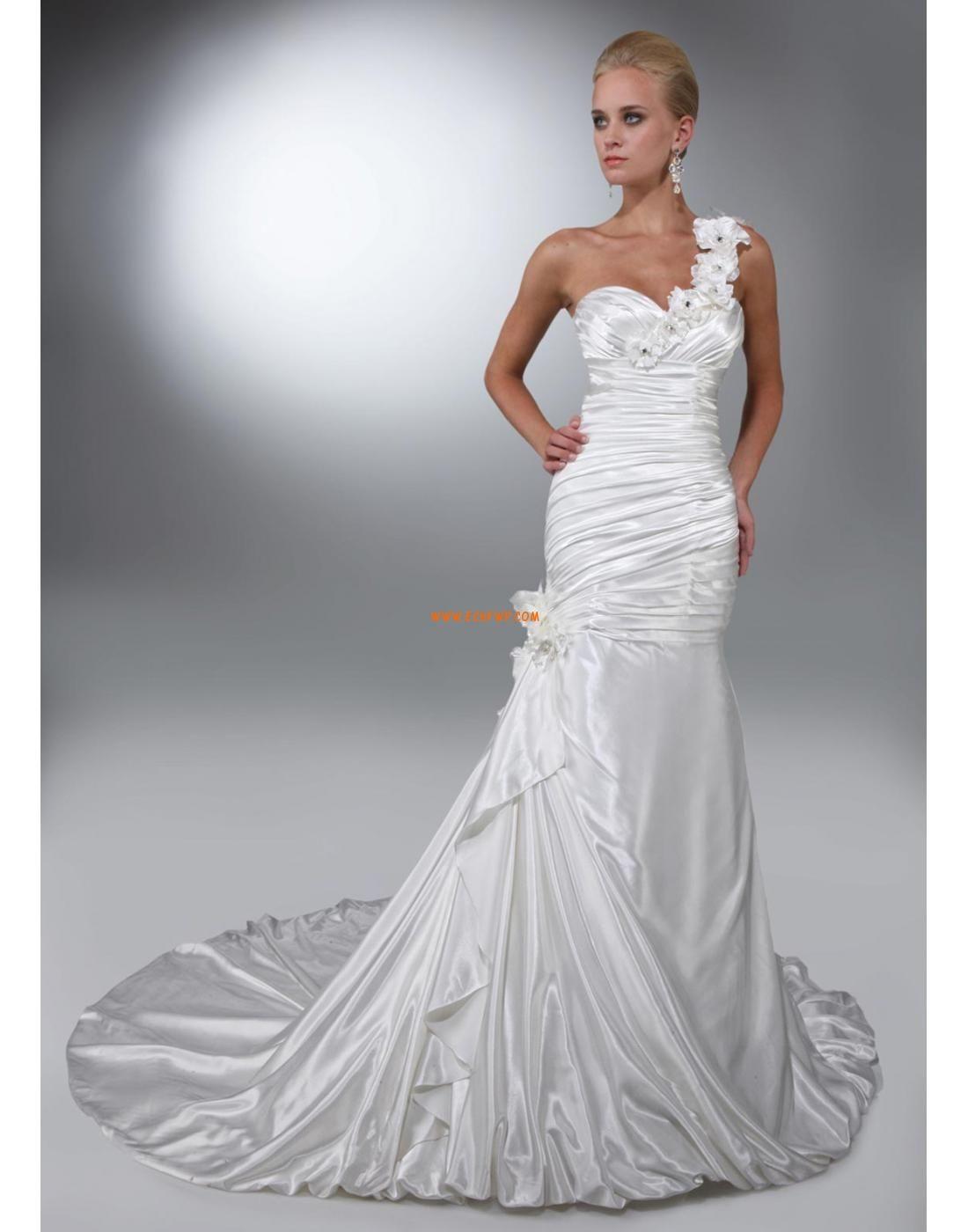 Natural wedding dresses  En Skulder Blomster Blondér Bryllupskjoler   drømme