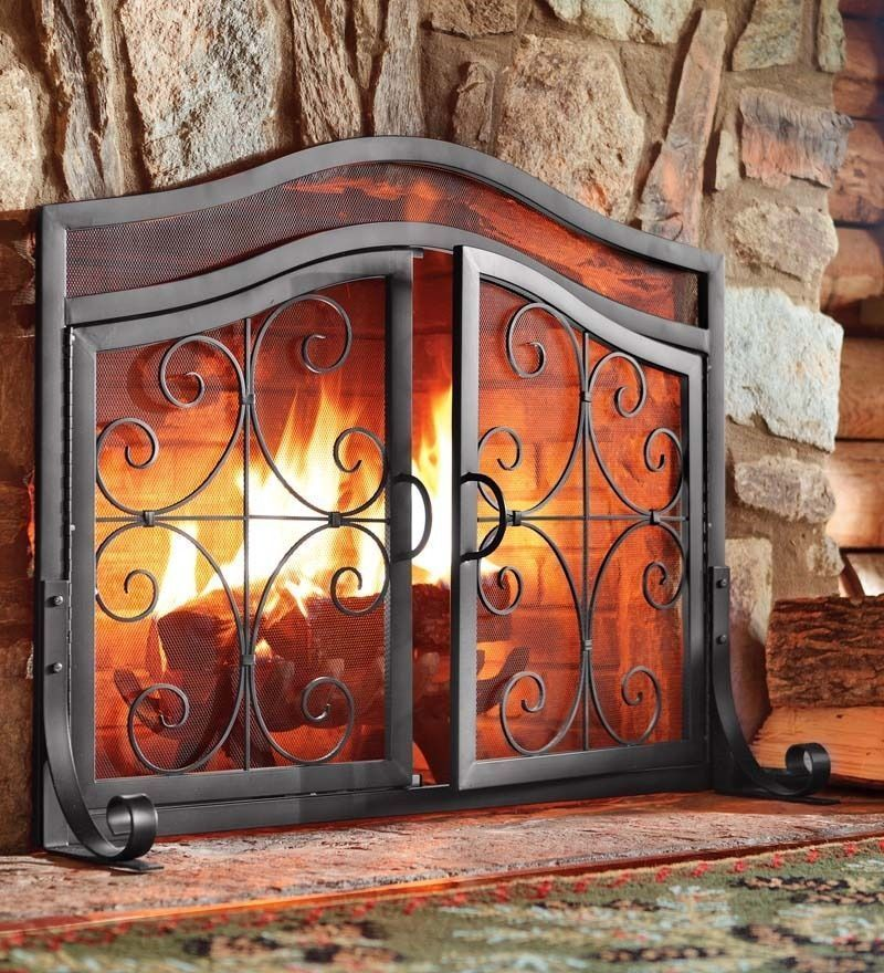 Ornamental Scroll Design Elegant Fireplace Screen Solid Wrought