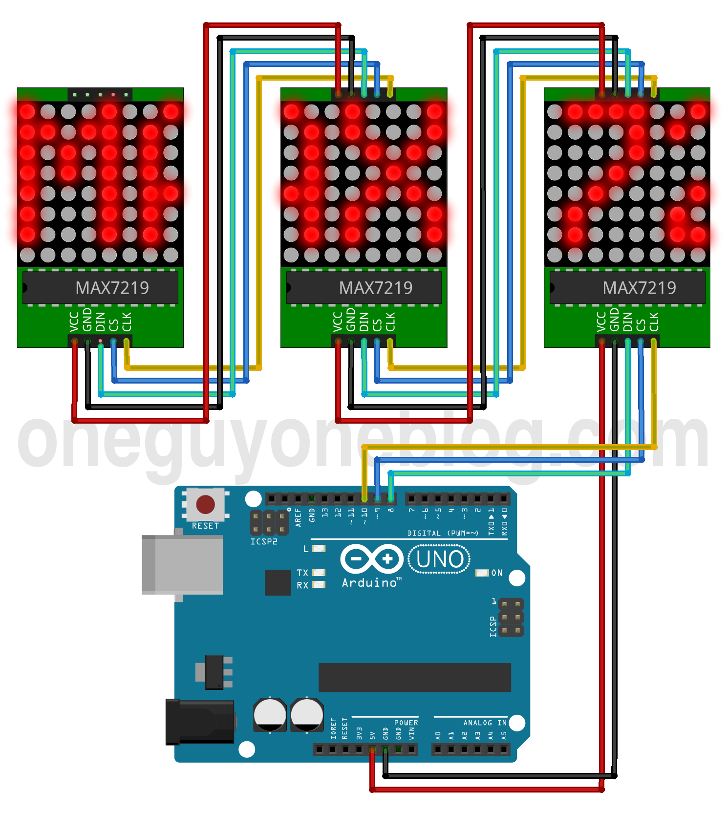Arduino Uno And 3x Max7219 8x8 Led Matrix Module Electronic Running Lights Electronics Project