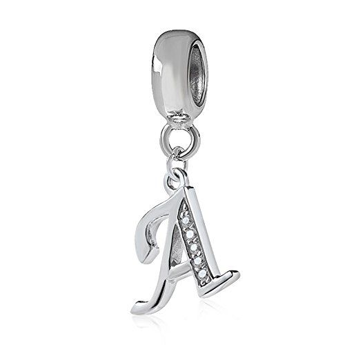 Alphabet Charm Letter Beads Solid 925 Sterling Silver with Cubic Stones Complete AZ Gift