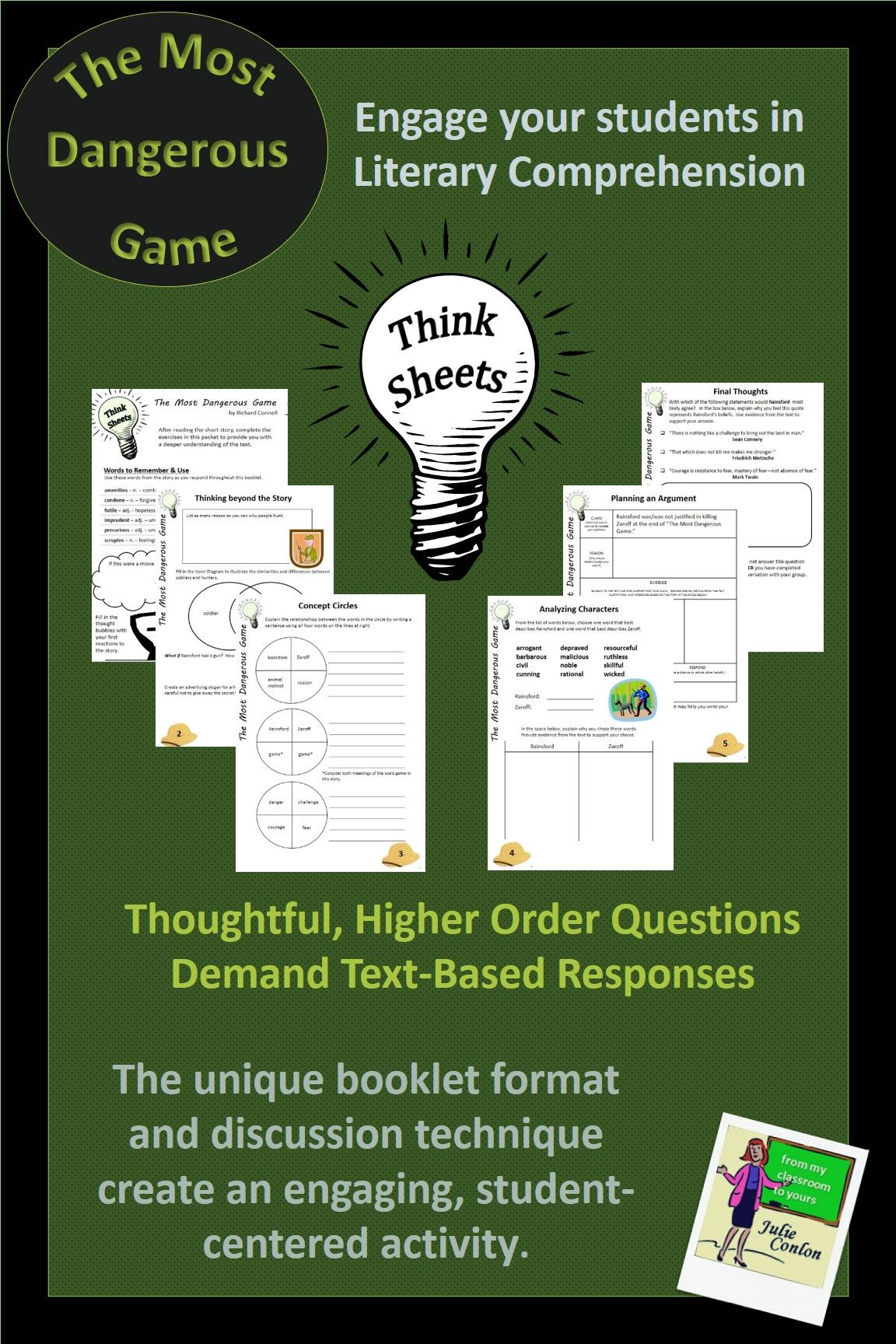 worksheet The Most Dangerous Game Comprehension Worksheet the most dangerous game think sheets reading response activity a creative and challenging assessment for by richard connell